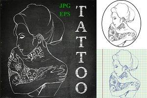 Tattoo girl vector illustrations