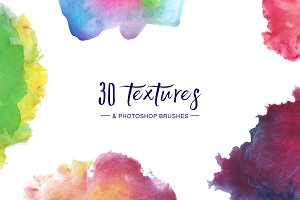 Watercolor Textures & Brushes