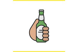 Hand holding beer bottle. Vector