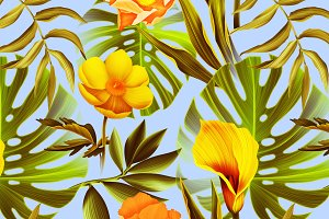 Palm leaves & tropical flowers