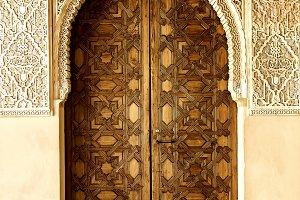 Door in Alhambra, Granada. Spain.