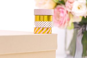 Washi Tape & Gift Box Stock Photo