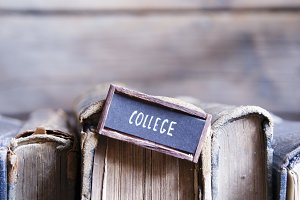 College small tag and retro books