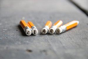 Learn inscription on pencil