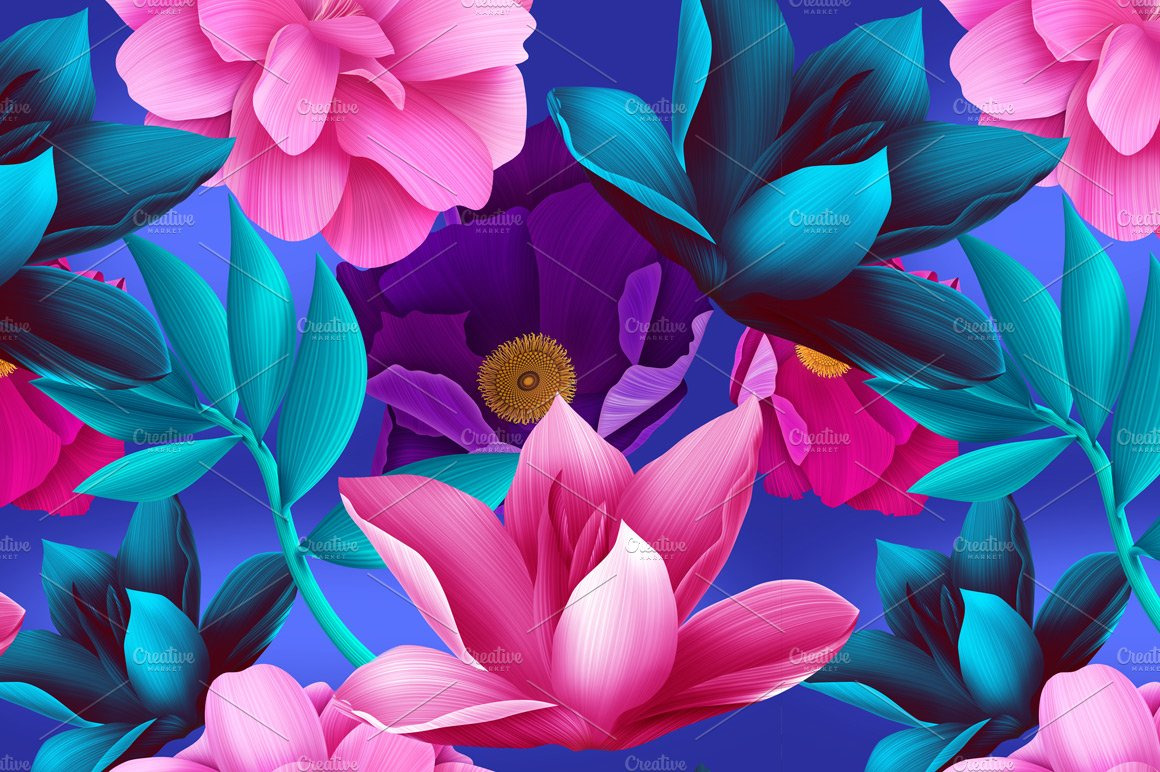 Tropical flowers and leaves ~ Graphic Patterns ~ Creative ...