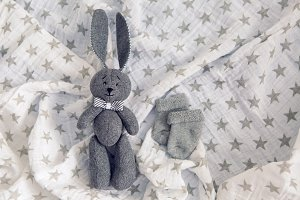 gray toy rabbit lies
