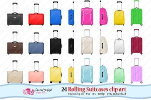 Rolling Suitcases clipart