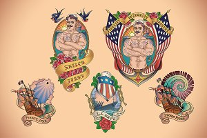 Old School Navy Tattoo (5x)