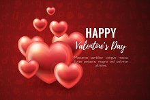 Valentines Day Background with glossy hearts