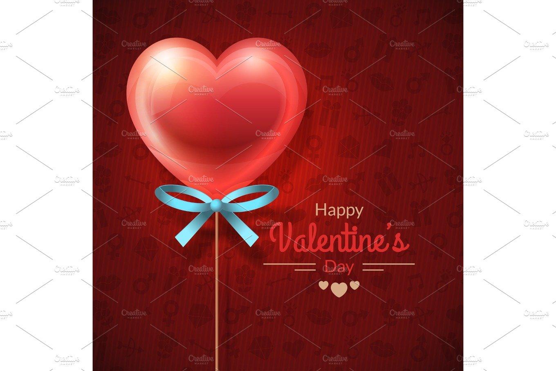 Heart Lollipop Valentines Day Card Card Templates Creative Market