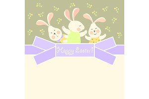 Cute bunnies celebrating Easter