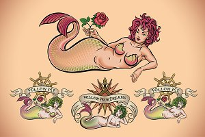 Old School Tattoo of a Mermaid (5x)