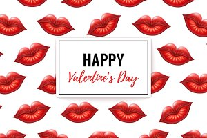 Red Lips Valentine's Day Background