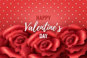 Valentines Day Background with red roses