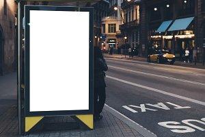 advertising light box on bus stop