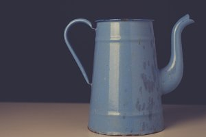 Old blue enamel jug