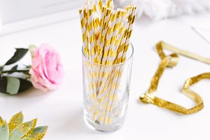Gold Stripe Straws Stock Photo
