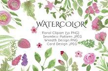 Watercolor Flowers Clipart Set