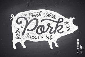 Illustration with pig silhouette Pork. Lettering