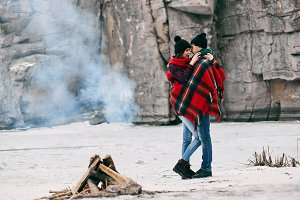 Guy and girl at a picnic.