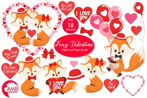 Valentine Cute Fox clipart-AMB-1582