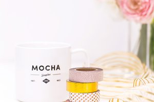 Washi Tape and Coffee Stock Photo