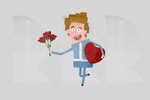 Man walking with a bouquet of roses
