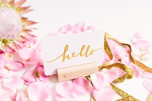 Hello Postcard on Desk Stock Photo