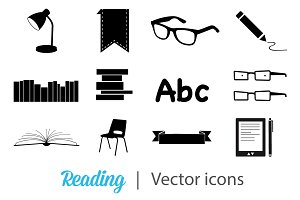 Black Books and Reading icons set