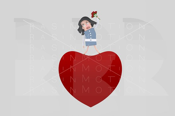 Woman standing on big heart