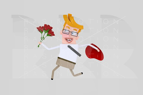 Man running with a bouquet of roses.