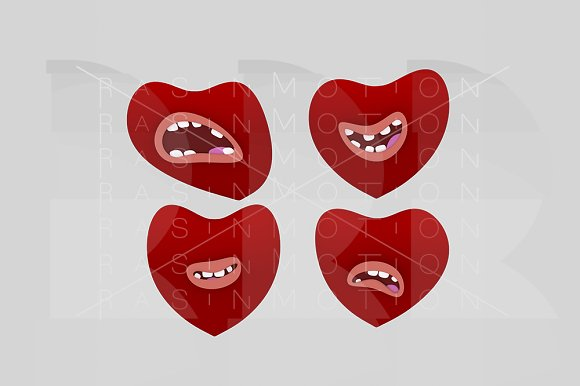 Hearts with mouth