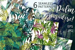 Palm paradise! 6 seamless patterns