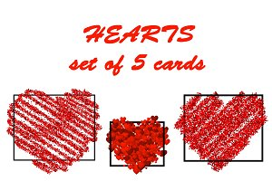 Valentine's cards with red hearts
