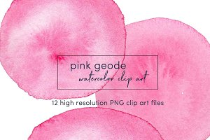 Pink geode watercolor clip art PNG