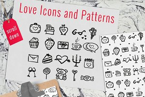 Romantic Doodles Icons and Patterns