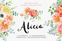Alicia watercolor floral collection