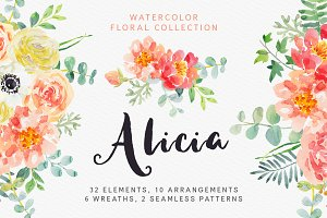 Alicia watercolor floral collection