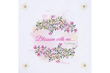 Watercolor flowers frame card