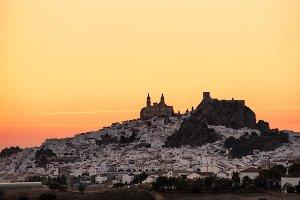 Olvera at sunset. Cadiz, Spain