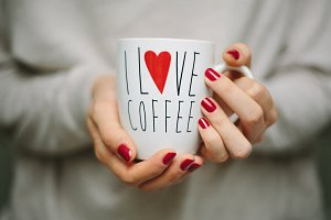 """I love coffee"" cup"