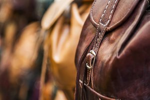 Leather backpack detail