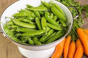 Green peas in a colander