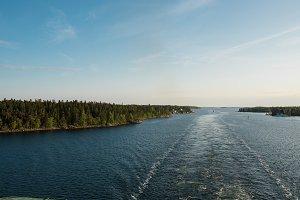 Wake of Cruise Boat in Archipelago