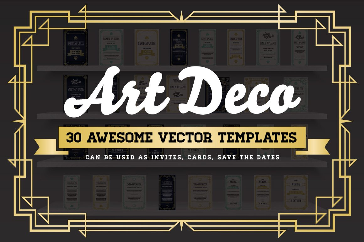 awesome art deco invites cards product mockups creative market