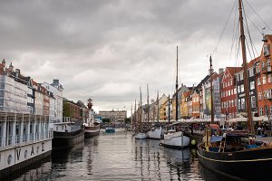 Nyhavn, Copenhagen with clouds