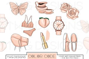 Peach Fashion Elements Clip Art