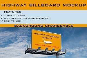 Realistic Highway Billboard Mockup