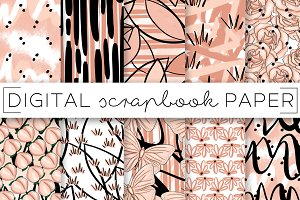 Peach and Black Digital Paper
