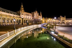 Spanish Square at night, Seville.